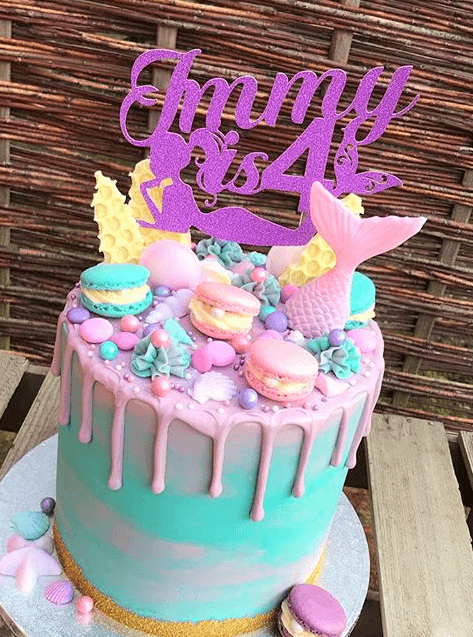 Pink Glitter Mermaid Cake Topper With Name Age